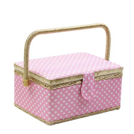 Polka Dot Sewing Basket with Handles Home Storage Box Motheru0027s Day Gift 31 Pcs Sewing  sc 1 st  Crov.com & Shop for Polka Dot Sewing Basket with Handles Home Storage Box ...