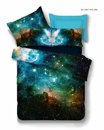 ... Pillow Source · 3D Galaxy 4PCS Duvet Cover Set Outer Space Microfiber Polyester STAR Sky Night Bedding Collection Twin
