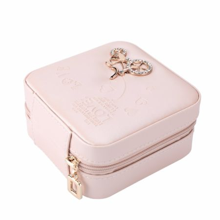 Jewelry Box Guluman Small Portable Travel Storage Case Display Organizer Mirrored Holder For Rings