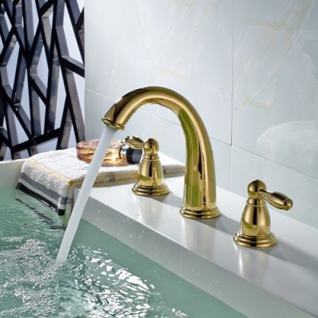 Flg Contemporary Widespread 2 Handle 3 Hole Centerset Gold Bathroom Sink Faucet Lavatory Vanity Pvd