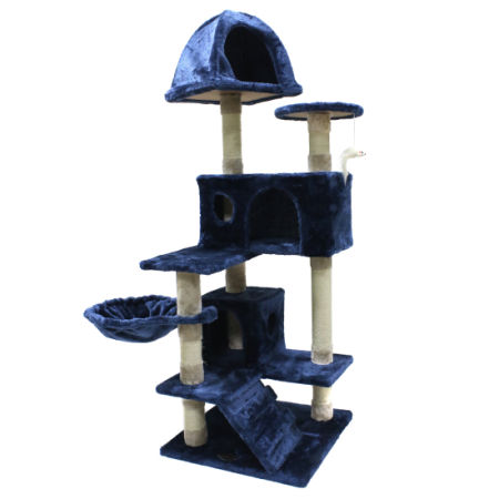 51u0027u0027 New Blue Cat Tree Tower Condo Furniture Scratch Post Pet Play House Toy