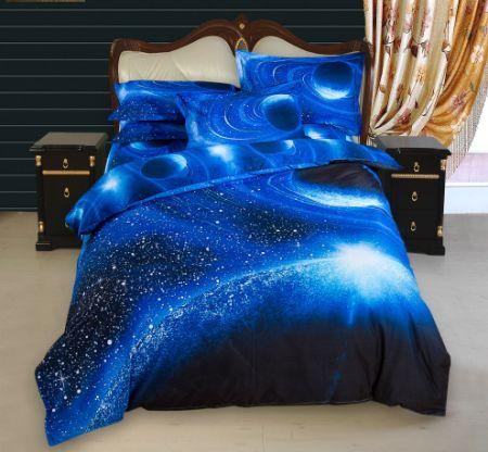 4pcs 3d galaxy bedding set soft microfiber full queen size blue - Galaxy Bedding Set