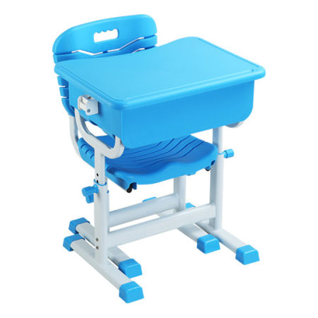 Height Adjustable Children Kids Students Study Desk and Chair Set Work Station for Home or School, Blue