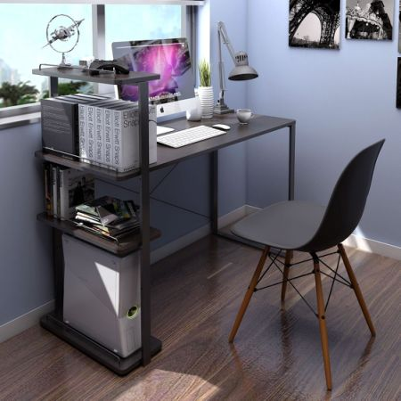 Lifewit Computer Desk With Bookshelf Large Study Writing Table For Home Office Black Walnut