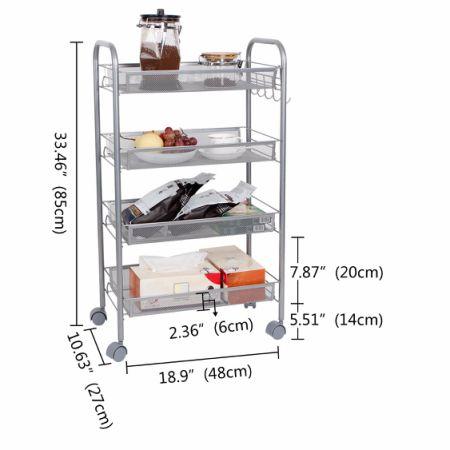 Lifewit 4 Tier Kitchen Rolling Cart Trolley Shelf Utility Storage Rack  Office