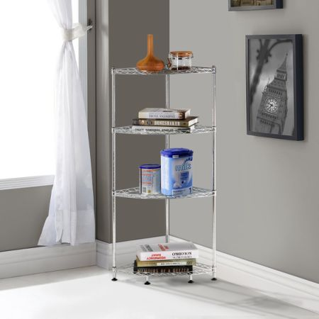 Lifewit Corner Shelf Space Saving 4 Tiers Adjustable Metal Storage Rack  Shelving Unit Corner Rack
