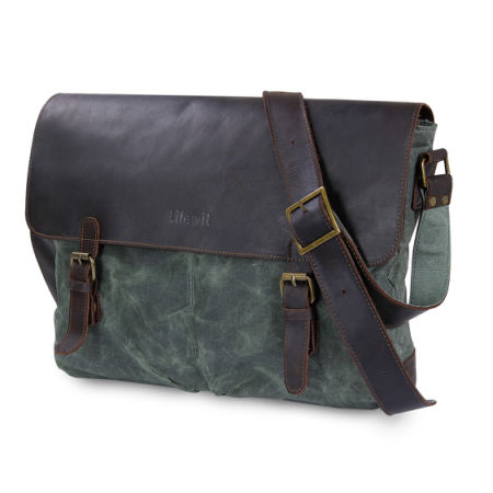 Lifewit 15 6 Inch Vintage Leather Laptop Messenger Bag Water Resistant Waxed Canvas Satchel Bags