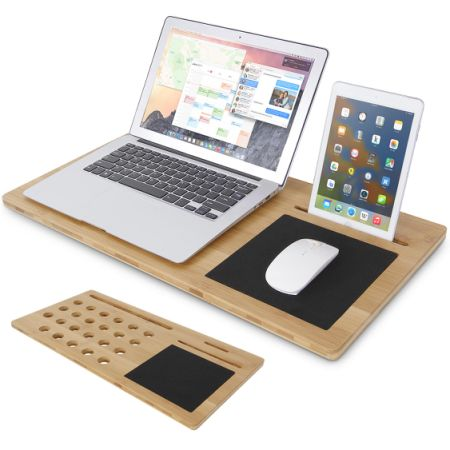 Lifewit Bamboo Lap Desk Lapdesk With Mouse Pad Laptop Cooling Tablet