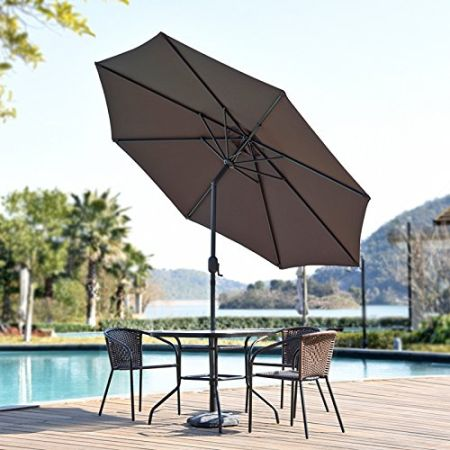 SNAIL 9 Foot Push Button Tilting Outdoor Aluminum Patio Umbrella With 8  Sturdy Ribs Crank Lift