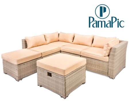 PamaPic 6 PCS Rattan Sectional Furniture Set, Garden Lawn Sofa,  Indoor Outdoor Wicker