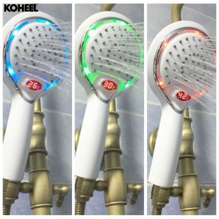 LCD Hand Shower, LED Handheld Shower Head With Temperature Digital Display,  3 Colors Change