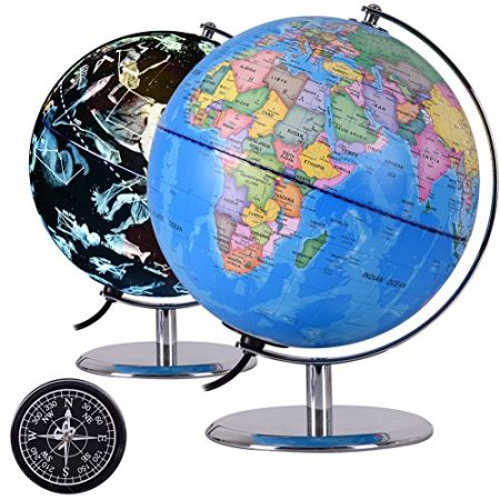 Shop for qwork illuminated constellation world globe with compass 9 qwork illuminated constellation world globe with compass 9 inch 3 in 1 gumiabroncs Image collections