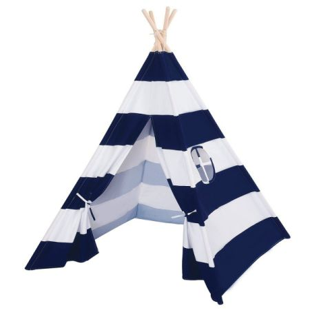 Blue and White Stripes Cotton Canvas Indoor Play Teepee Tent Children Play Tent  sc 1 st  Crov.com & Shop for Blue and White Stripes Cotton Canvas Indoor Play Teepee ...