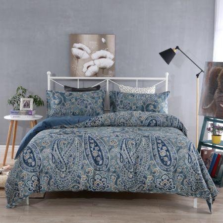 69303725f5 SINOLINK HOME 100% Cotton Premium Quality Printed Duvet Cover Set Paisley  Dark Blue 3 Piece