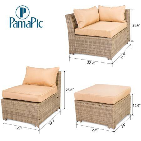 Shop for PamaPic 6 PCS Rattan Sectional Furniture Set, Garden Lawn ...
