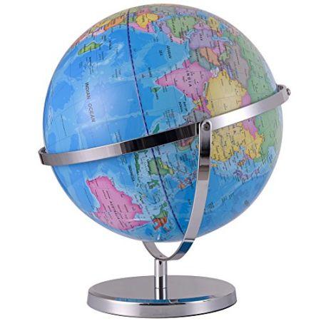 Shop for qwork 12 inch political desktop world globe with compass qwork 12 inch political desktop world globe with compass 720 degree rotation earth globe of gumiabroncs Choice Image