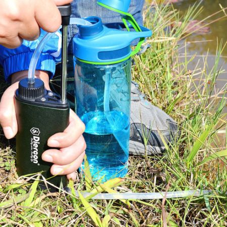 Diercon Tactical Water Micro Filter TW01- Reusable Personal Hand Pump Water Purifier, Camping Emergency Survival Gear, 3-Stage Process, Removes 99.9999% of Waterborne Bacteria
