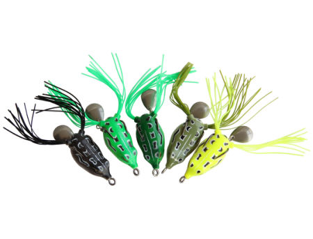 5pcs Lot Topwater Lures Hollow Frog Fishing Tackle Lure Set Soft Baits with Tackle Box for Bass Snakehead Saltwater Freshwater Fishing