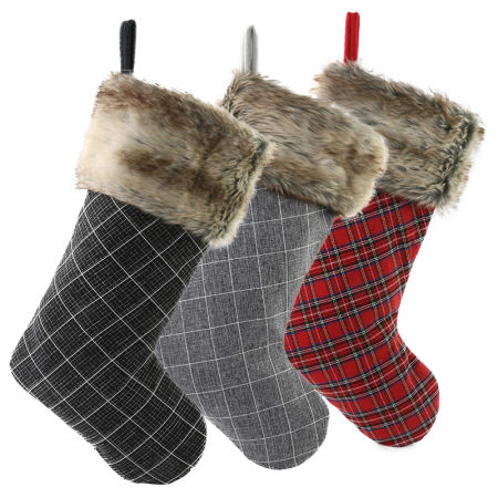 free dropshipping set of 3 pieces christmas stockings plaid with faux fur cuff buffalo check christmas