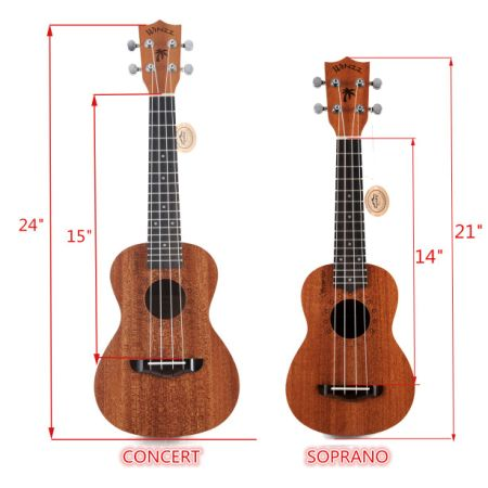 [Free Shipping] Aileen WINZZ Plywood Soprano/Concert Hawaii Ukulele with Bag, Tuner, Strap, Picks, Extra Strings (21 Inches, Natural)
