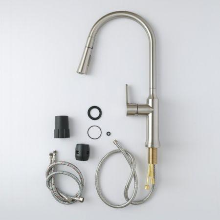 D Amour Kitchen Faucet Modern Brass Single Handle High Arc Centerset Pull Out Sprayer