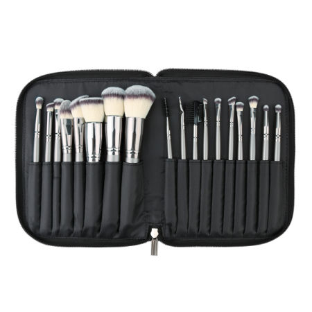 MAKA 18pcs Makeup Brush Set Synthetic fiber hair Foundation Blending Blush Concealer Eye Face Liquid Powder Cream Cosmetics Lip Brushes Kit, easy and professional solution for your cosmetic