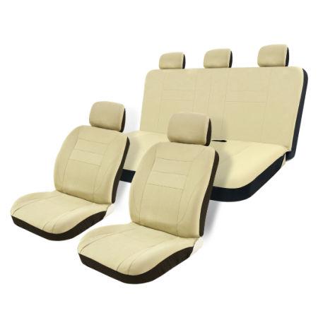 8pcs Car Auto Seat Covers Full Set Tan Universal Airbag Compatible Storage Bag