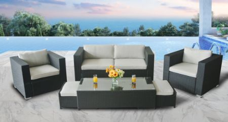 Outdoor Sectional Sofa Patio Conversation Set Wicker Sofa Set Modern  Aluminum Wicker 6PCS Couch W/