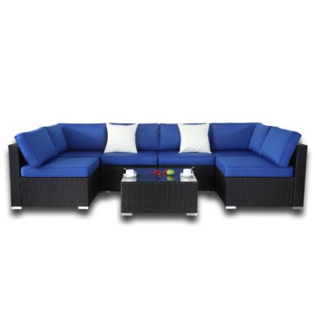 Patio Furniture 7pcs Rattan Sofa Sectional Conversation Couch Black Royal Blue Cushion