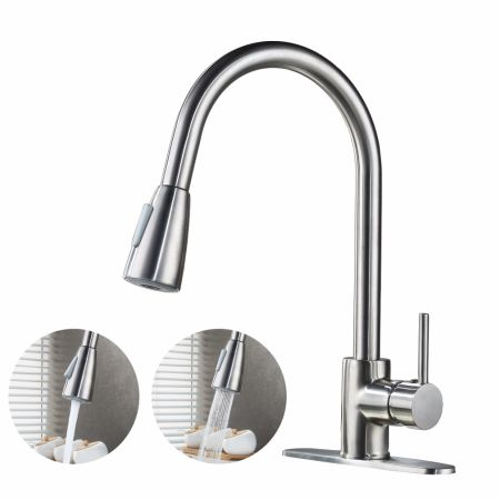 Commercial High Arch Single Lever Brushed Nickel Pull Down Sprayer Kitchen  Faucet, Single Handle Pull