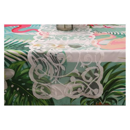 Decorative Dresser Scarf Washable Lace Rectangular Table Runner White