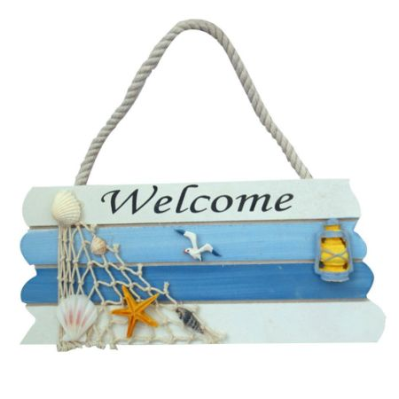 Wooden Welcome Sign Front Door Nautical Decor Blue Decorated With Fishing Net Nice Decoration