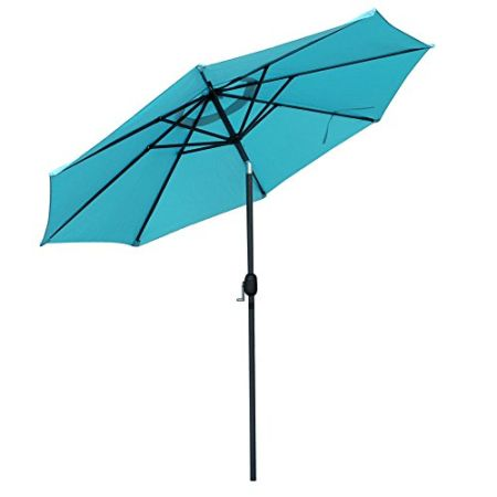 SNAIL 9u0027 Aluminum Patio Umbrella UV Protection Fade Resistant Outdoor  Market Umbrella With Push Button