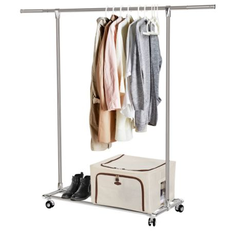 Lifewit Supreme Commercial Grade Clothing Rack Adjustable Clothes Rack  Rolling Single Rod Garment Rack With Shelf