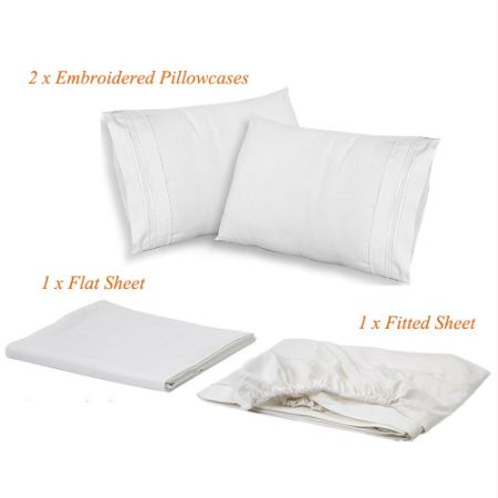 Luxe Manor 3PC Twin Size Bed Sheet Set-Soft Brushed Microfiber Fitted Flat Sheet & Embroidered Pillow Case Set-Deep Pocket Wrinkle Free Hypoallergenic Bedding,Best Christmas Gifts, White