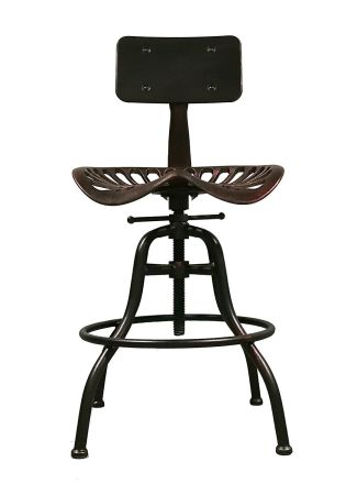 Industrial Design Height Adjustable Cast Iron Saddle Bar Stool