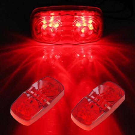 4Pcs Trailer Camper Side Marker LED Lights Red Surface 10 Diodes Bullseye  Clearance Light