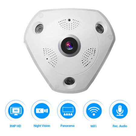 360° Panoramic Wireless IP Camera Audio Video WiFi 3 Megapixel HD Fish-eye Lens Wide Angle 10m/30ft Night Vision VR CCTV Home Security Surveillance Cameras System
