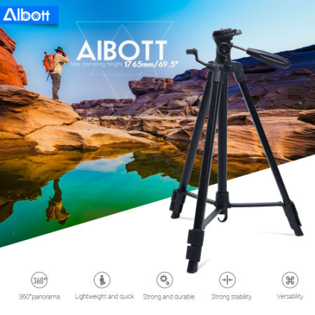 Albott 64 Inches Travel Tripod Portable Aluminium Lightweight with Carrying Bag for Cameras Video