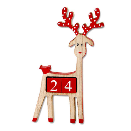 wooden reindeer advent calendar for christmas decoration - Wooden Deer Christmas Decorations