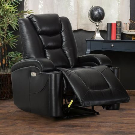 CANMOV Modern Electric Power Motion Recliner, Padded Seat Back Wall Hugger  Chair Living Room USB
