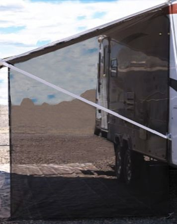 Tentproinc RV Awning Side Sun Shade Mesh Screen 9x7 Black Sideblocker Complete