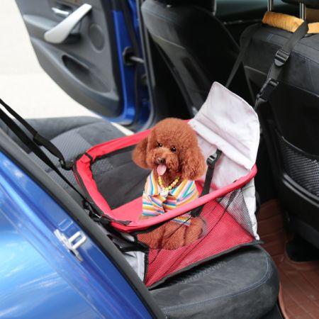 Kinbor Pet Car Seat Carrier For Dog Cat Lookout Booster RedGrey