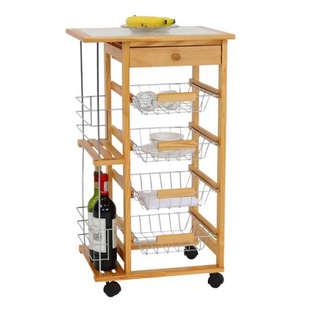 Beautiful Kinbor Wooden Kitchen Island Work Station Trolley Utility Cart W/Drawers  And Casters