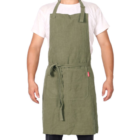 weeyi hygge linen kitchen apron men and women linen bib apron adjustable with pockets chef works - Kitchen Apron