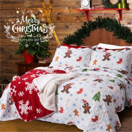 Bedsure Quilt Sets New Design Christmas Bedding Whole Printed Bedspread Set Microfiber