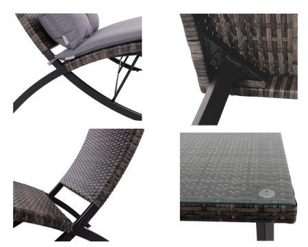 wicker folding chairs. PHI VILLA Patio 4-Piece Padded Wicker Lounge Set Folding Rattan Chairs Outdoor Furniture,