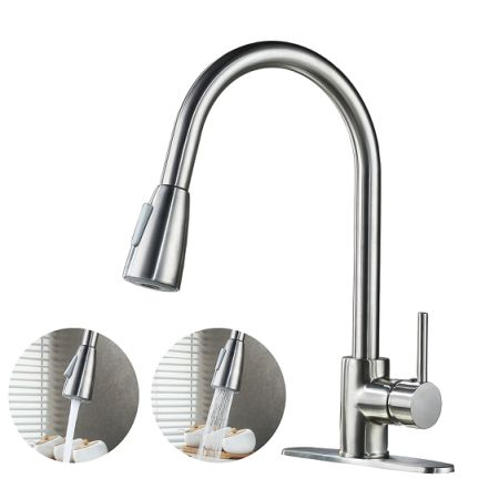 Kaen Commercial High Arch Single Lever Brushed Nickel Pull Down Sprayer Kitchen Faucet Handle