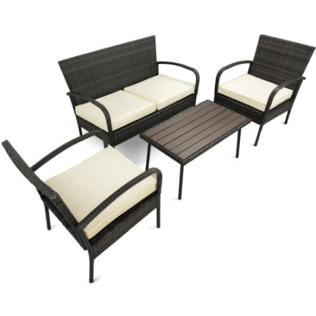 4 Pcs Rattan Patio Furniture Sets Pamapic Indoor Outdoor Wicker Sectional Seat Cushioned Loveseat