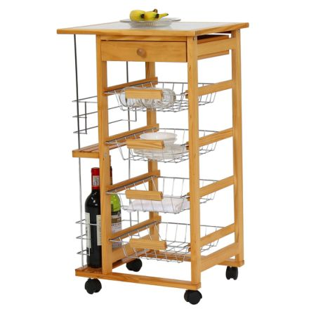 Kinbor Wooden Kitchen Island Work Station Trolley Utility Cart W Drawers And Casters